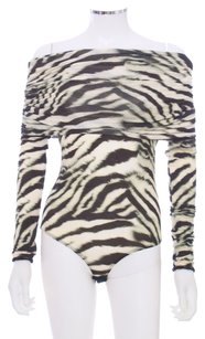 Roberto Cavalli Bamboo Bodysuit Stretchy Top Brown and Ivory