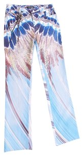 Roberto Cavalli Spandex Nylon Italian Jeans Denim Stretchy Embellished Snakeskin Straight Pants Blue and Browns