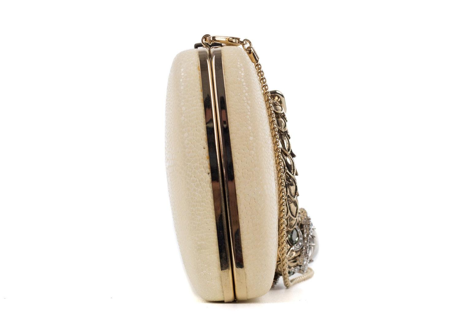 Roberto Cavalli Cream Ivory Mini Pebble Marble Embellished Clutch NjOaK