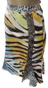 Roberto Cavalli Snakesksin Animal Print W Flared Skirt Multi-color