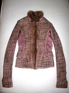 Roberto Cavalli Jacket Mink Wool Embroidered violet, pink, brown Blazer