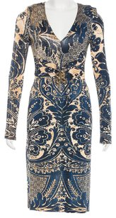 Roberto Cavalli Longsleeve V-neck Animal Print Hardware Snake Dress