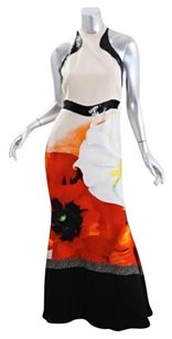 Cream Maxi Dress by Roberto Cavalli Womens Red Floral Silk Halter Gown Maxi Sheath 428