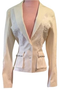 Roberto Cavalli Embroidered Studded Detail White Jacket