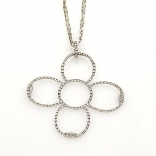 Roberto Coin Roberto Coin 1.24ct Diamonds 18k Gold Flower Pendant Triple Chain Necklace