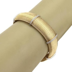 Roberto Coin Roberto Coin Diamonds 18k Two Tone Gold 15mm Wide Flex Band Bracelet