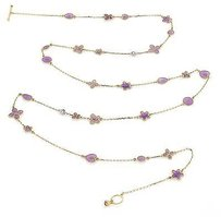 Roberto Coin Roberto Coin Spring Purple Enamel Diamond 18k Gold Long Necklace 35