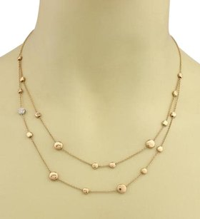 Roberto Coin Roberto Coin Diamond Row Classic 18k Rose White Gold Bead Chain Necklace