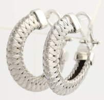 Roberto Coin Roberto Coin Woven Wire Hoop Earrings - 18k White Gold Ruby Accent Fine Estate