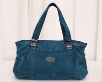 Rochas Teal Suede Tote in Blue