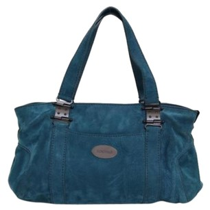 Rochas Teal Suede Leather Satchel Handbag Tote in Blue