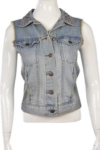 Rock & Republic Womens Jean Cotton Sleeveless Vest Womens Jean Jacket