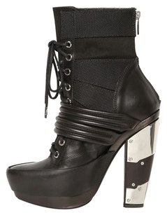 Rodarte Mirrored Platform Lace Up Black Boots