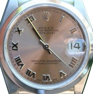 Rolex ROLEX STEEL MIDSIZE 31mm DATEJUST WATCH PINK ROMAN BOX & BOOKLETS SERVICED PRFCT