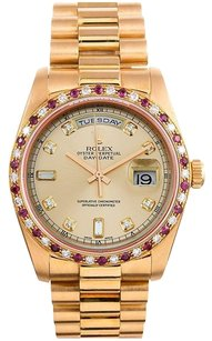 Rolex 18K Gold Day- Date Presidential Custom diamond dial & Ruby diamond bezel Men's Watch