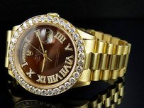 Rolex 18k Mens Yellow Gold Rolex President Day-date 36mm Chocolate Diamond Watch 6.0ct