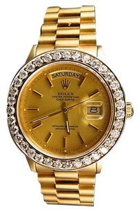 Rolex 18k Yellow Gold Mens Mm Rolex President Day-date 18038 Diamond Bezel Watch
