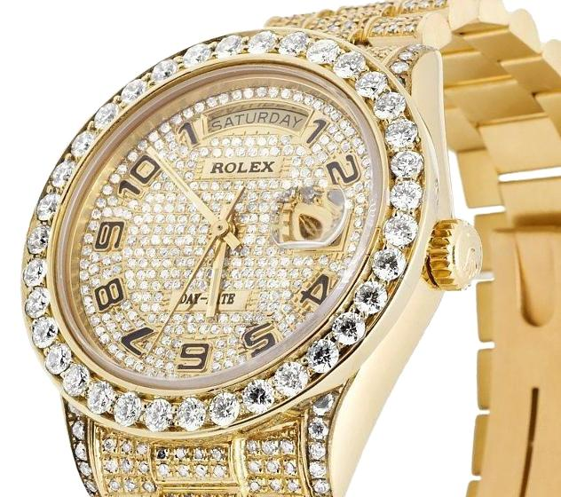 Rolex 18k Yellow Gold Mens Presidential Daydate Diamond 15 Ct Watch