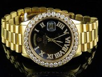 Rolex 18k Yellow Gold Mens Rolex Black Dial President Day-date Vs Diamond Watch 5.3 Ct