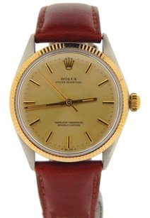 Rolex Mens Rolex 2tone 14k Goldstainless Steel Leather Oyster Perpetual Wgold Dial