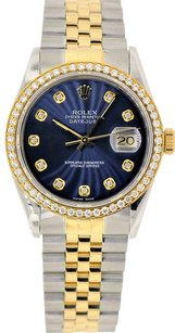 Rolex 36mm DateJust Two Tone Blue Diamond Dial Bezel 1.25 Carat