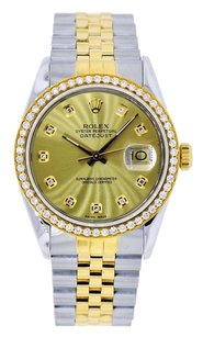 Rolex 36mm DateJust Two Tone Champagne Diamond Dial Bezel 1.25 Carat