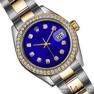 Rolex 36mm Royal Blue Authentic Rolex Datejust 2Tone Yellow Gold Oyster Band