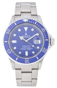 Rolex Blue Rolex Submariner Stainless Steel with Diamond Dial Watch 16610T