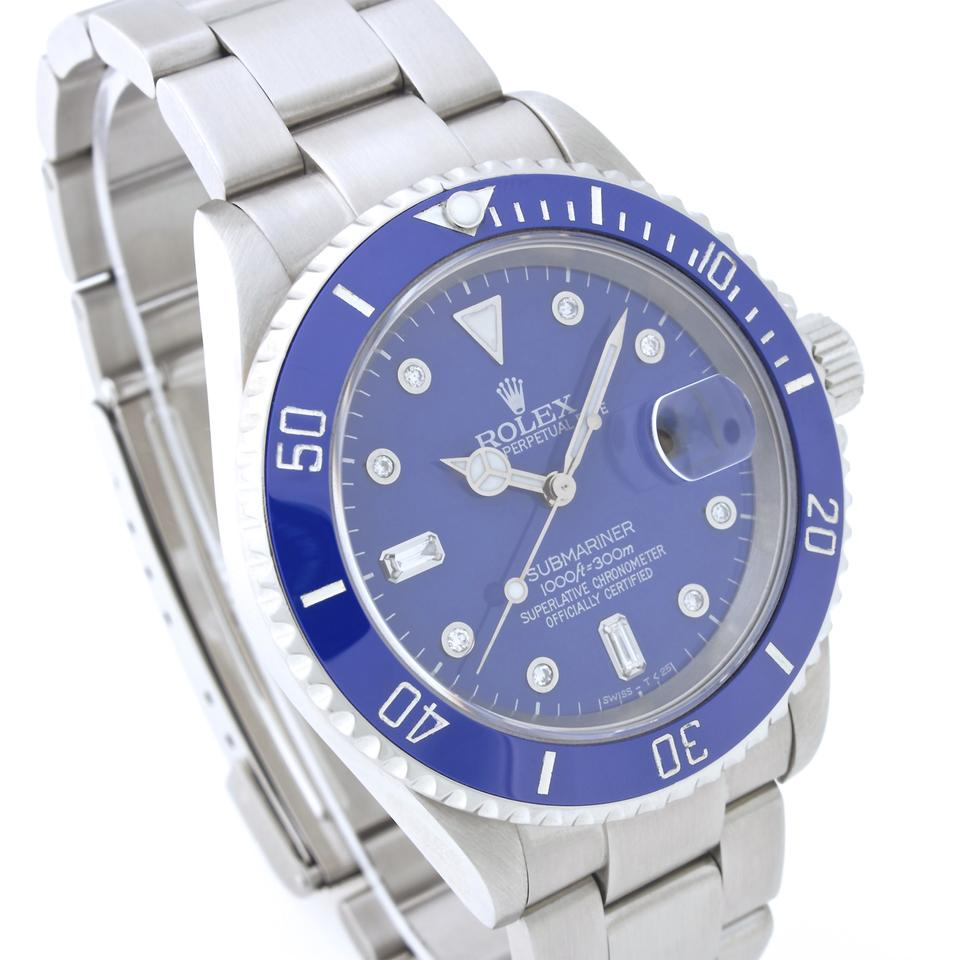 rolex blue submariner stainless steel with diamond dial. Black Bedroom Furniture Sets. Home Design Ideas
