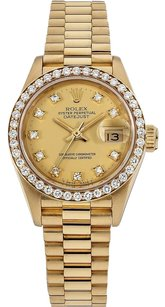 Rolex Datejust 18K Yellow Gold Custom Diamond Ladies Presidential Watch
