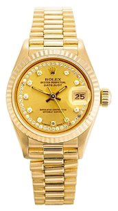 Rolex Datejust 18K Yellow Gold Custom Diamond String Dial Ladies Watch