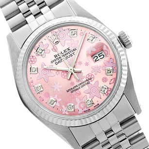 Rolex Datejust Pink Flower Dial Original Fluted Bezel 36mm Watch