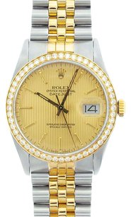 Rolex DateJust Two-Tone Champagne Tapestry Dial Diamond Bezel Watch 16013