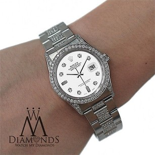 Rolex Diamond Rolex Datejust 16200 36mm Diamond Oyster Bracelet White Dial