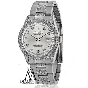 Rolex Diamond Rolex Watch- Datejust 16200 36mm -diamond Silver Dial - Oyster Bracelet