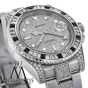 Rolex Diamonds Rolex Gmt-master Ii 116710 With Custom Diamond Baguette Bezel Pave Dial