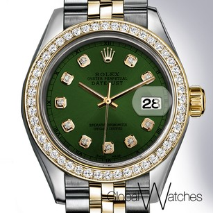 Rolex Forest Green Custom Face Rolex Datejust 26mm Small size 2tone 18K Gold