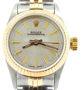 Rolex Ladies Rolex 2tone 18k Goldstainless Steel Oyster Perpetual Watch Silver 67193