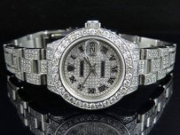 Rolex Ladies Rolex Datejust 27 Mm Oyster Full Iced Out Dial Diamond Watch 9.75 Ct