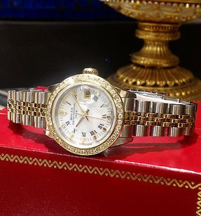 Rolex Ladies Rolex Oyster Perpetual Date Diamonds Yellow Gold And Stainless Steel