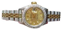 Rolex Ladies Rolex Oyster Perpetual Datejust Two-tone 18k Gold Diamond Bezel And Dial