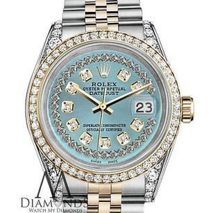 Rolex Ladies Rolex Steel And Gold 26mm Datejust Ice Blue String Diamond Dial Watch