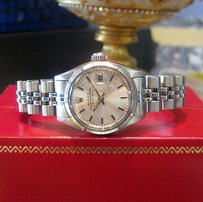 Rolex Ladies Vintage Rolex Oyster Perpetual Date Engine Turned Bezel Stainless Steel