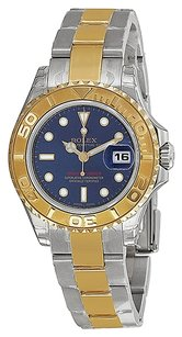 Rolex Ladies Yachtmaster Blue Dial Oyster 18k Yellow Gold Watch 169623BLSO
