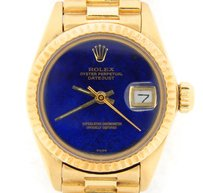 Rolex Lady Rolex Solid 18k Yellow Gold Datejust President Watch Wblue Lapis Dial 6917