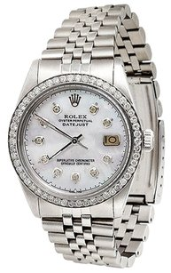 Rolex Mens,Stainless,Steel,Rolex,Datejust,Jubilee,Diamond,Watch,White,Mop,Dial,3,Ct.
