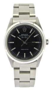 Rolex Mens Stainless Steel Rolex Air-king Watch Woyster Band Black Dial 14000