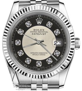Rolex Mans Rolex 36mm Datejust Silver+black Tuxedo Dial With Diamond Accent