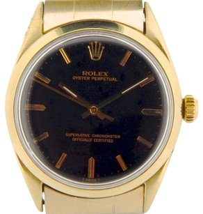 Rolex Men Rolex 14k Gold Shell Oyster Perpetual No-date Watch Black Woyster Band 1024