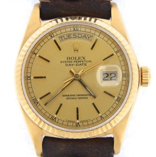 Rolex Men Rolex Solid 18k Yellow Gold Day-date President Champagne Wbrown Strap 18038